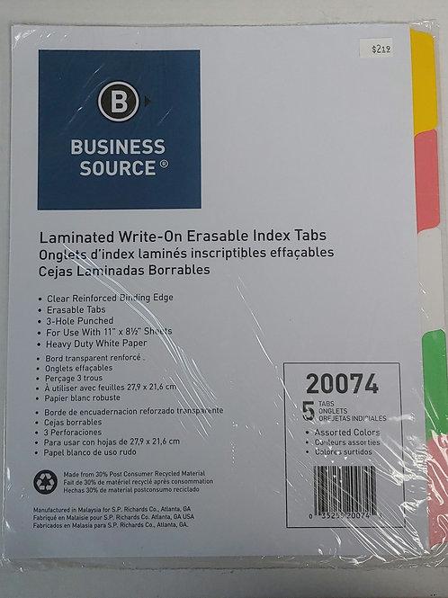 Laminated Write-On Erasable Index Tab Dividers