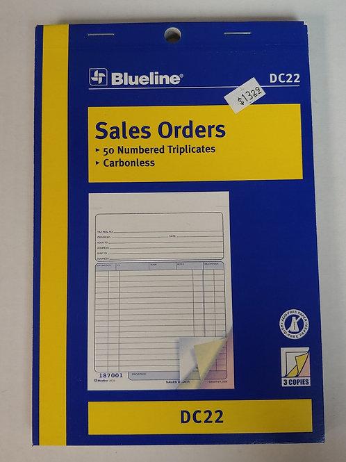 Blueline Sales Orders 50 Numbered Triplicates