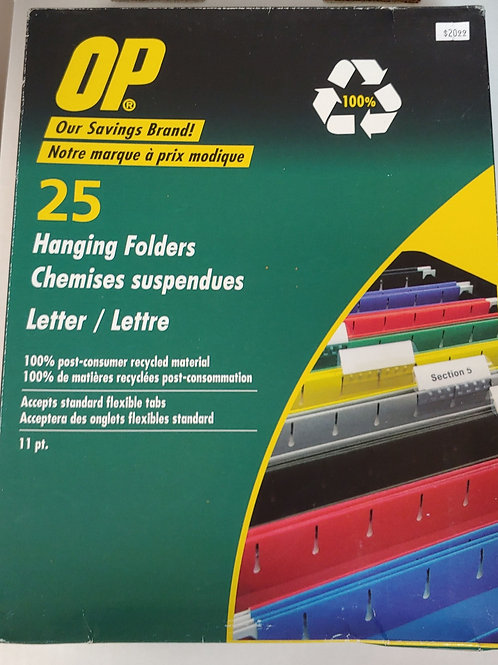 OP 25 Letter Size Hanging Folders Yellow
