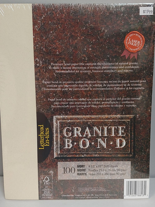 Granite Bond Letterhead Ivory Paper 100 Sheets