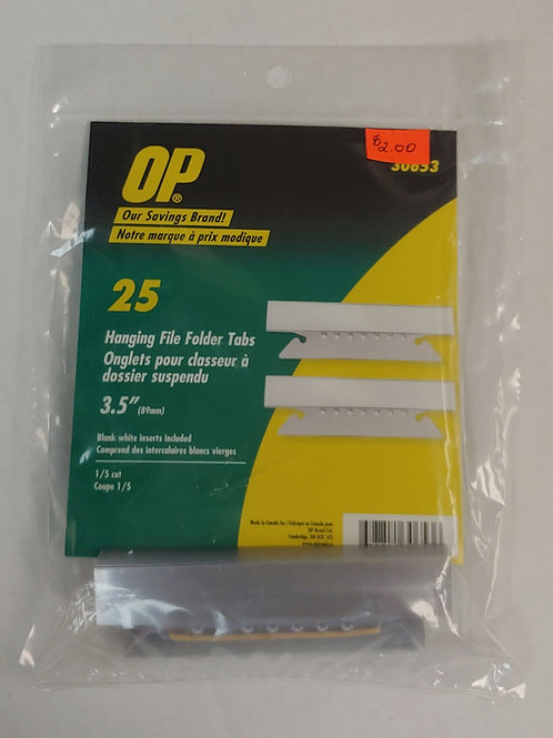 OP 25 Hanging File Folder Tabs 3.5""