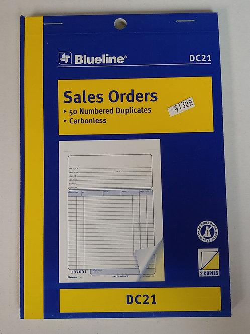 Blueline Sales Order 50 Numbered Duplicates