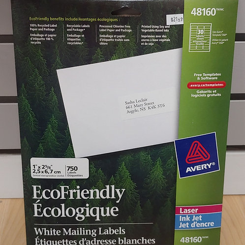 "Avery Eco-friendly White Mailing Labels 1"" x 2⅝"""