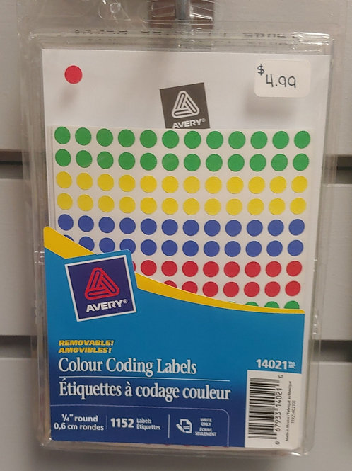 """Avery Colour Coding Labels ¼"""" Round"""