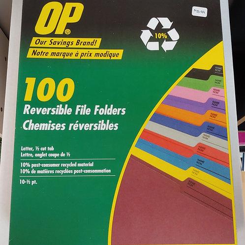 OP Brand Coloured Reversible File Folders -Letter size