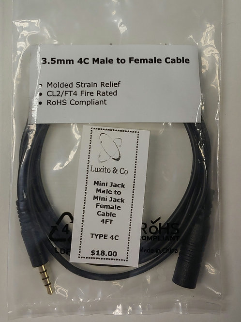 Mini Jack Male to Mini Jack Female Type 4C 4ft Cable