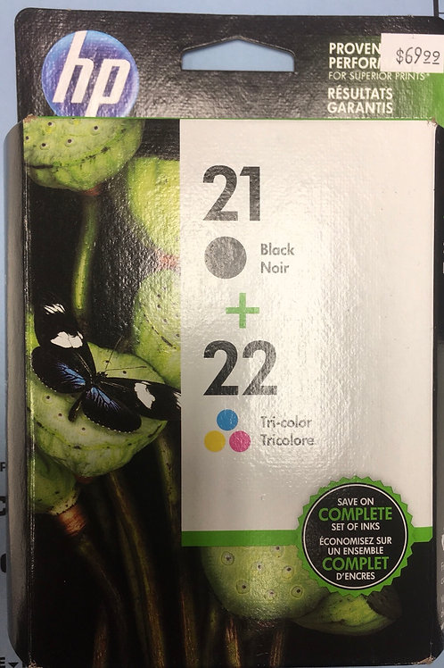 HP 21 Black and 22 Tri-Color