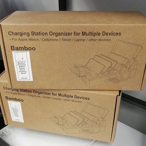 Bamboo Charging Station Organizer