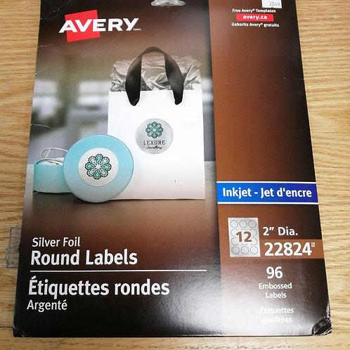 Silver foil round labels