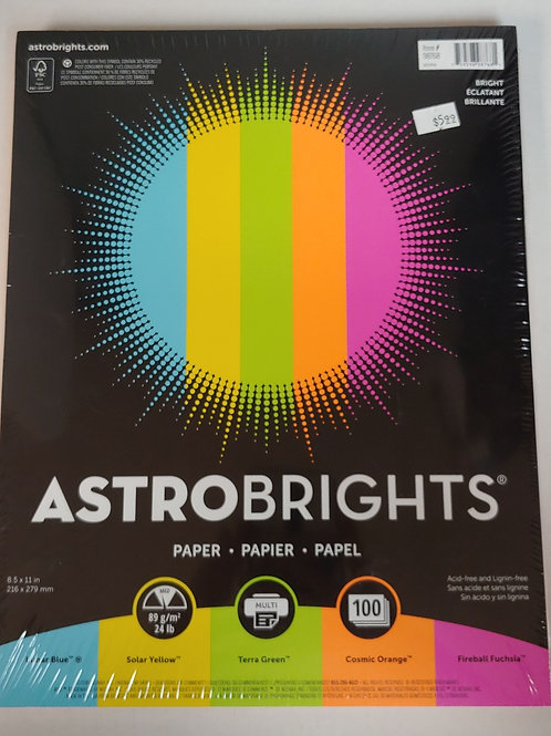 Astrobrights 100 Assorted Coloured Paper