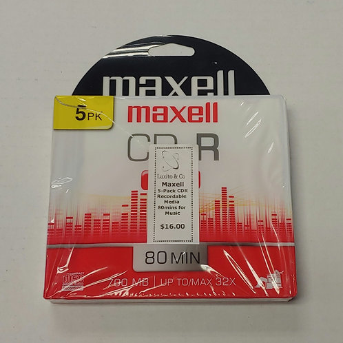 Maxell 5-Pack CDR Recordable Media 80 Minutes for Music
