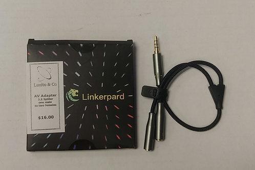 Linkerpard AV Adapter 3.5 Splitter One Male to Two Femals
