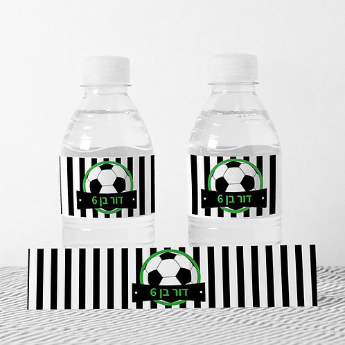 6 מדבקות מיתוג בקבוקי מים - כדורגל
