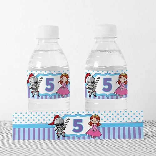 6 מדבקות מיתוג בקבוקי מים - אבירים ונסיכות