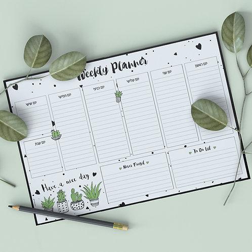 לוח תכנון שבועי קקטוסים