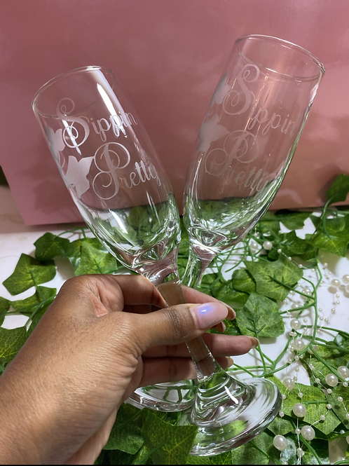 Sippin' Pretty Etched Wine Glass Set