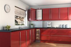Worcester boiler red kitchen