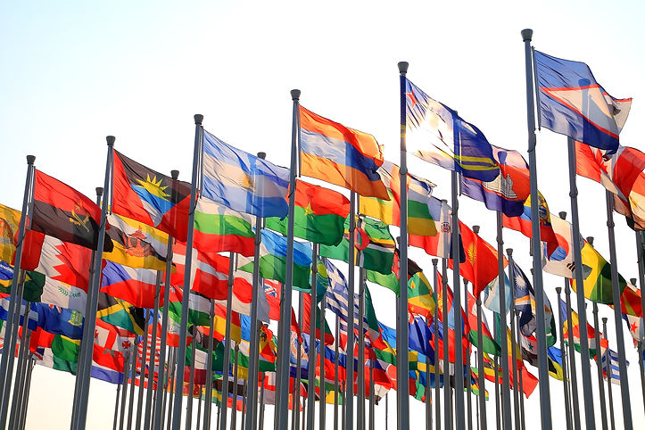 Flags of all nations of the world are fl