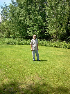 Author Michael Puttonen in his front yard.
