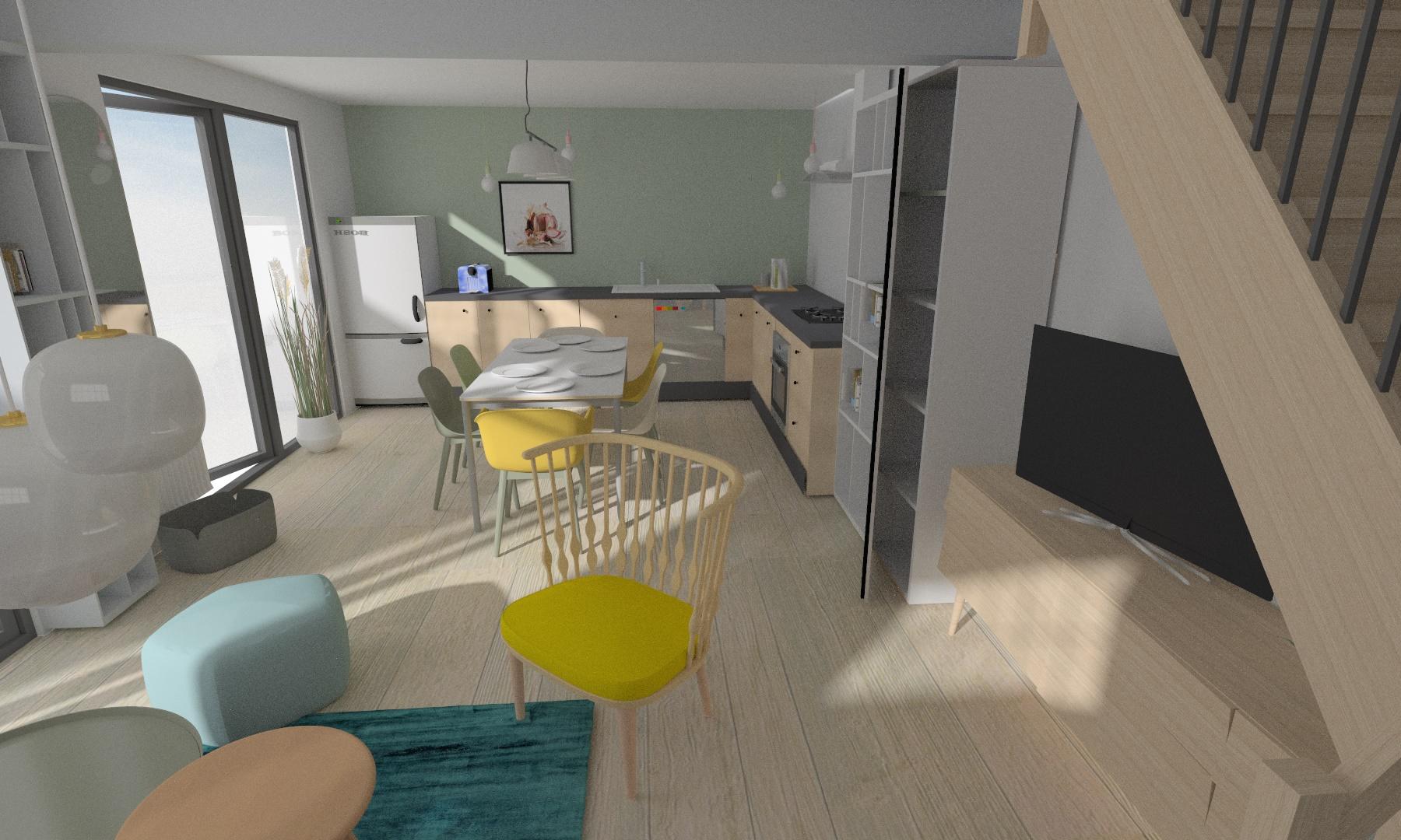Vue de l'espace salon-cuisine