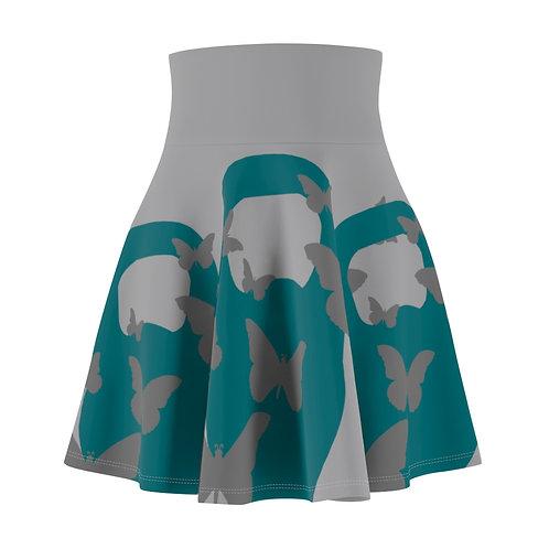 Kettlebell aquamarine butterfly Women's Skater Skirt 2 - grey