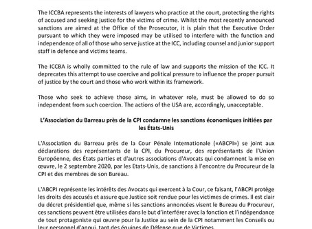 ICCBA condemns economic sanctions initiated by USA / L'ABCPI condamne les sanctions économiques