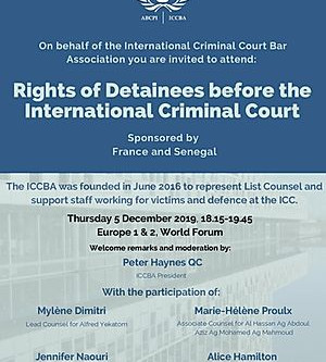 ICCBA to Hold Side Event at ASP in December 2019