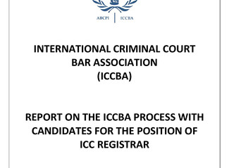 Report on ICCBA Process with Candidates for ICC Registrar