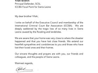 L'ABCPI envoie une lettre de condoléances au peuple de Sierra Leone