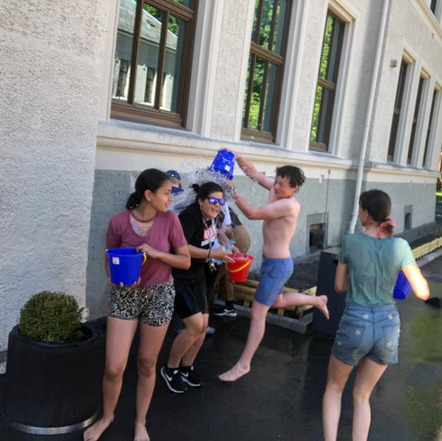 Water fight with teachers on the last day of school