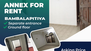 Bambalapitiya 2 Bed Annex for Rent Rs 50,000 and 6 Months Refundable deposit