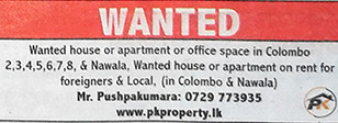Wanted House or Apartment or Office Space in Colombo. for Expats