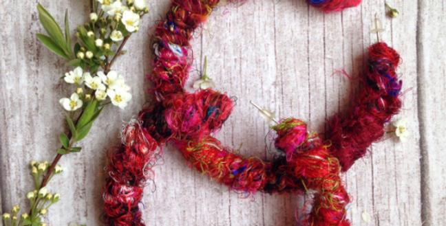 Recycled Indian Silk Sari Hoops
