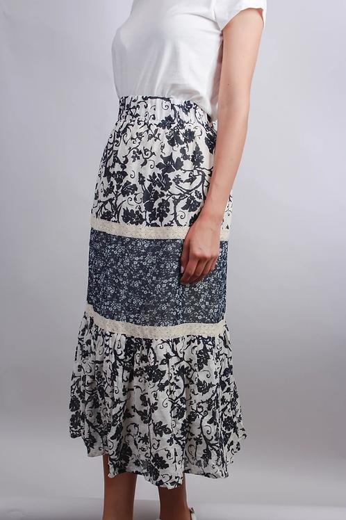 Black & Ivory Floral Print Skirt