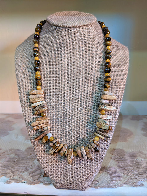 Picture Jasper and Tiger Eye Necklace