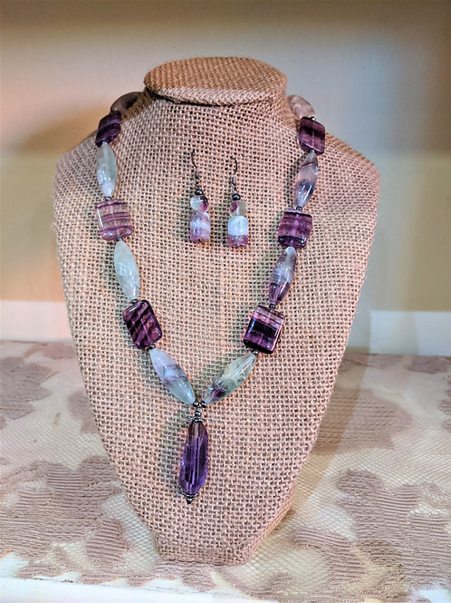 Florite and Amesthest Necklace and Earrings