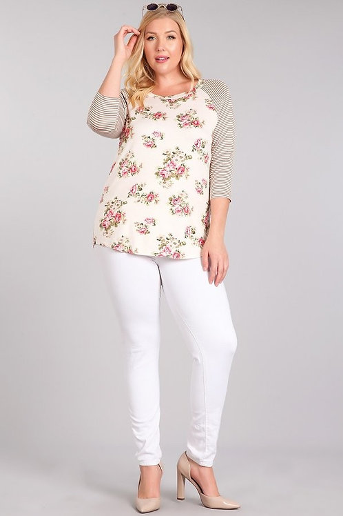 Floral Top with Striped Sleeves