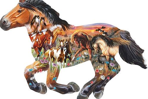 Pasture Sunset Horse Shaped Puzzle