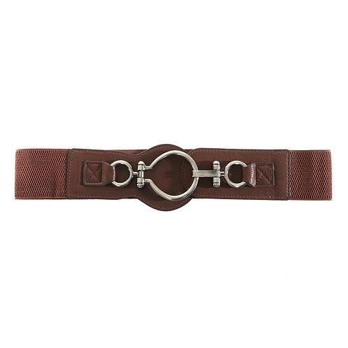 Elegant Brown Stretch Belt with Hook Buckle