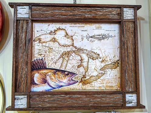 Great Lakes Map w/Walleye Framed Print