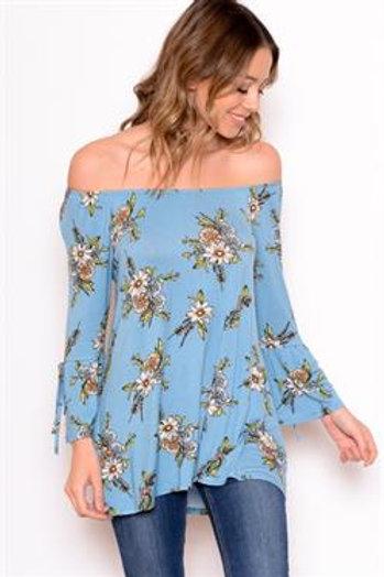 Blue Floral Ruffle Sleeve