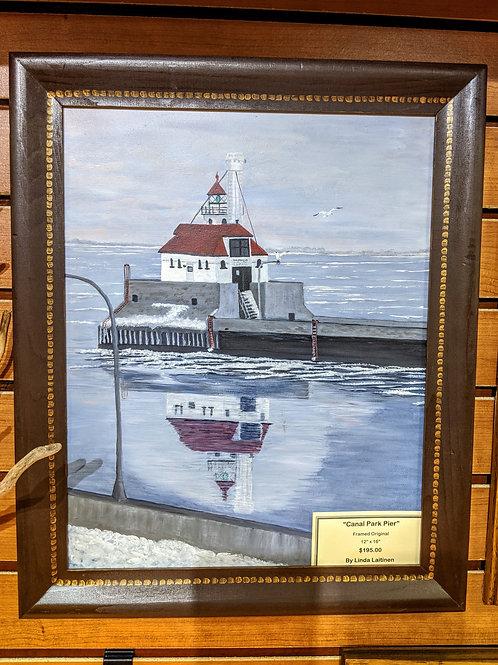Canal Park Pier Framed Original by Linda Laitinen