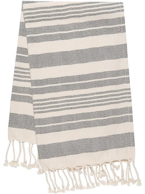 Hammam Hand Towel Black Stripe