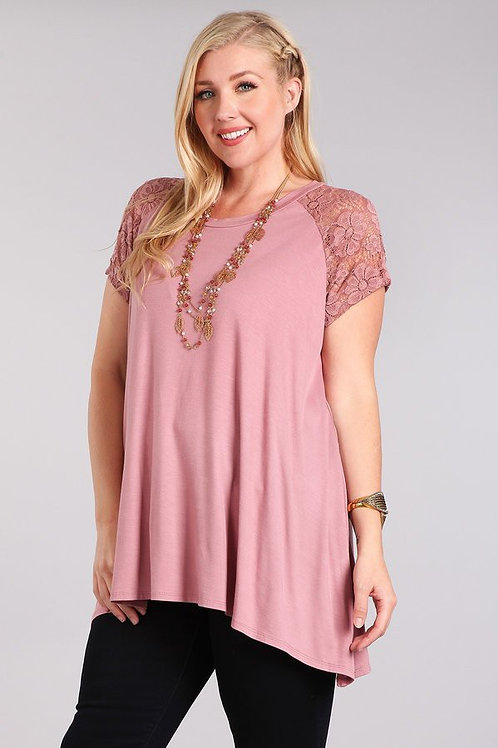 Blush Top with Lace Sleeves