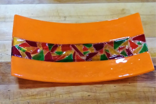 Orange Fused Glass Tray