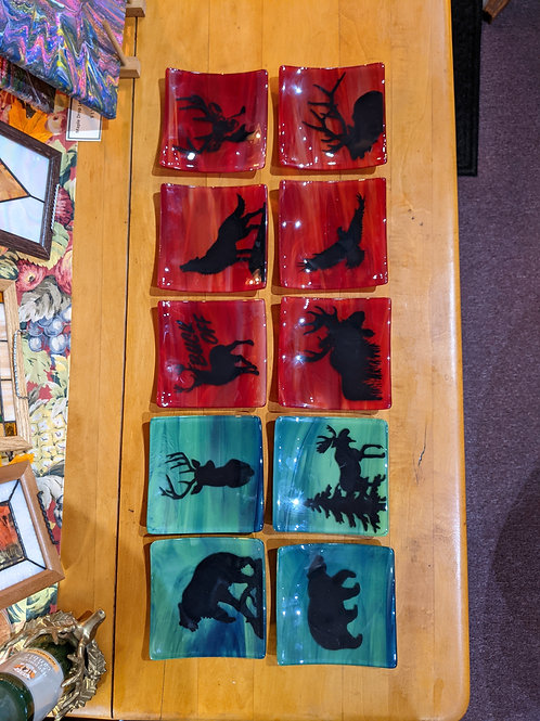 Hand Painted Fused Glass Wildlife Plate