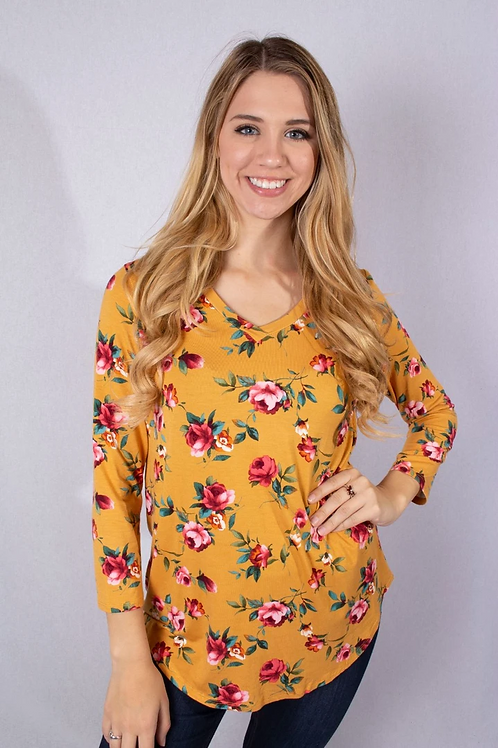 Mustard Floral 3/4 Long Sleeve