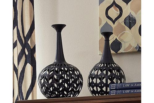 Set of Two Metal Vases