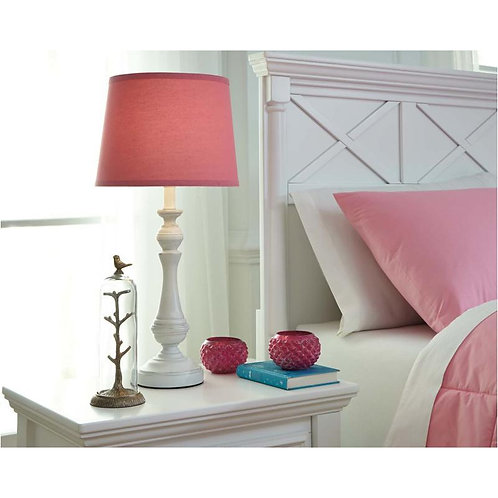 Kian White Finish Lamp with Pink Shade.