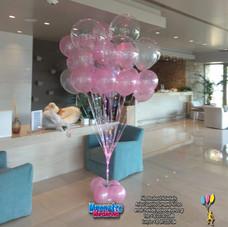 Σύνθεση με μπαλόνια περλέ και μπαλόνια με led